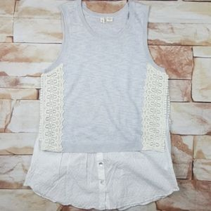 Anthropologie Moth gray lace tank top